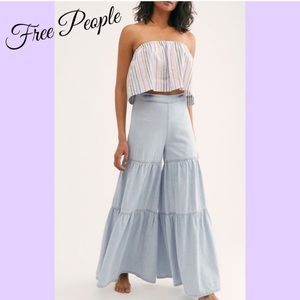 Free People Star Gazing Tiered flare jeans NWT